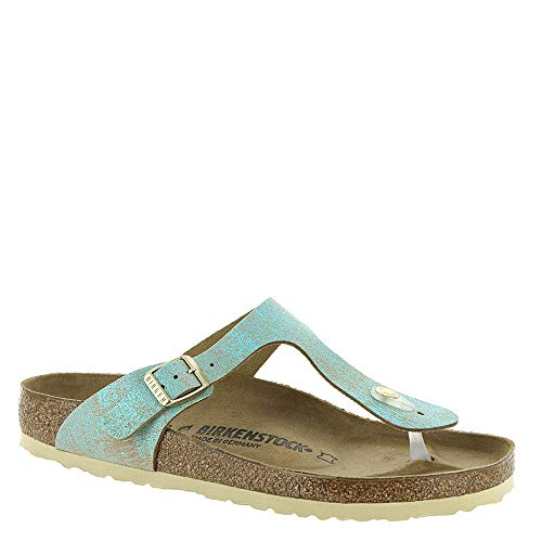 Birkenstock Women's Gizeh Sandal Metallic Aqua Suede Size 39 M EU