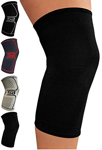 SB SOX Compression Knee Brace for Knee Pain – Braces and Supports Knee for Pain Relief, Meniscus Tear, Arthritis, Injury, Running, Joint Pain, Support (Medium, Solid – Black)