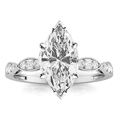 0.85 Cttw 14K White Gold Marquise Cut Petite Curving Diamond Engagement Ring with a 0.7 Carat H-I Color SI2-I1 Clarity Center