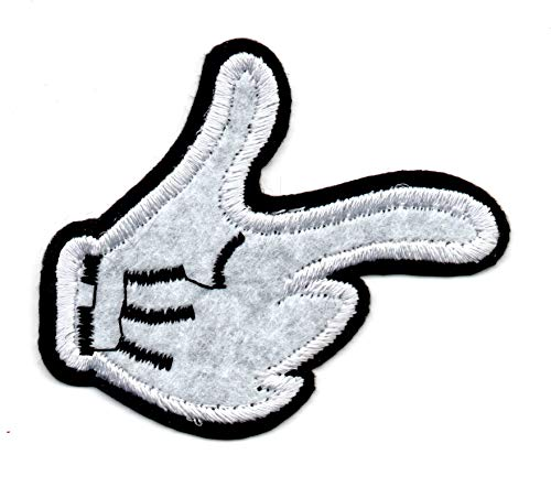 Patch Disney's Mickey Mouse Hand Black White Glove Mend Thumb Up Pouce Force Jacket Pant Vest Polo Sticker Hot Logo Motor Cycle New Badge Cartoon Embroidered Applique Iron On Sew On Bestdealhere (1)