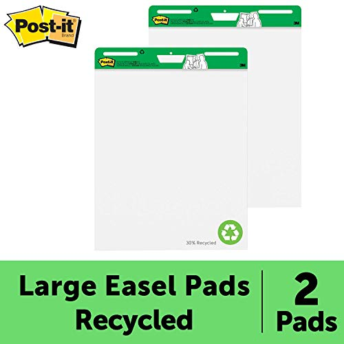 Post-it Super Sticky Easel Pad, 25 x 30 Inches, 30 Sheets/Pad, 2 Pads (559RP), Large White Recycled Premium Self Stick Flip Chart Paper, Super Sticking Power ()