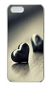 taoyix diy iPhone 5 5S Case Two Black Hearts 769 PC Custom iPhone 5 5S Case Cover Transparent