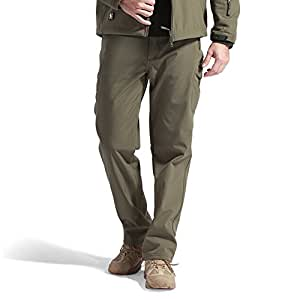 FREE SOLDIER Men's Pants Sharkskin Fleece Lining Soft Shell Pants Winter Skiing Warm Trousers (Army green, L)