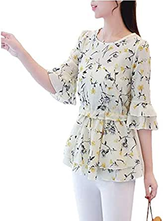 Loose And slim Lady's Bell Sleeve Chiffon Shirt With Fragmented Round collar