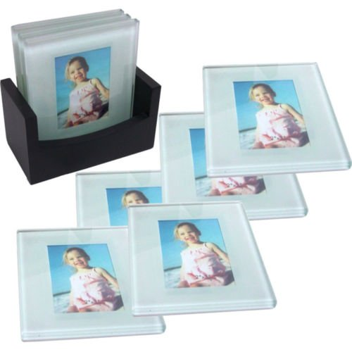 8 x CLEAR GLASS PHOTO FRAMES COASTERS SET COASTER TABLE M...
