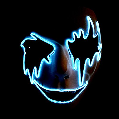 Guy Fawkes Girl Costume (Circle Circle El Wire Glowing Mask Luminous LED Light Up Cool Christmas Halloween DJ Birthday Cosplay Death Grimace Masks for Festival Party Show (Sky Blue))