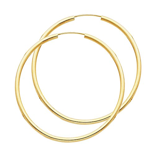 14k Yellow Gold 2mm Thickness Endless Hoop Earrings (45 x 45 mm) ()