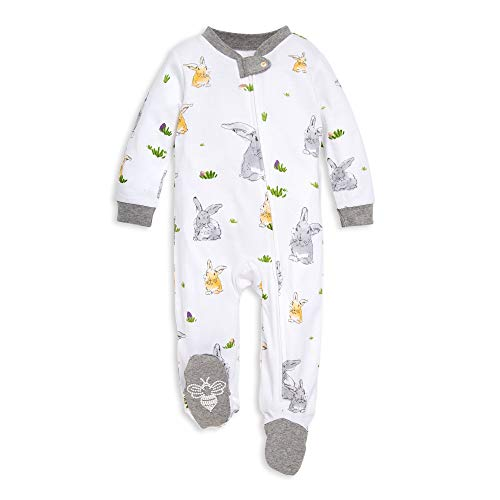 Burt's Bees Baby Unisex Baby Sleep & Play, Organic Pajamas, NB-9M One-Piece Zip Up Footed PJ Jumpsuit, Bunny Trail, Newborn
