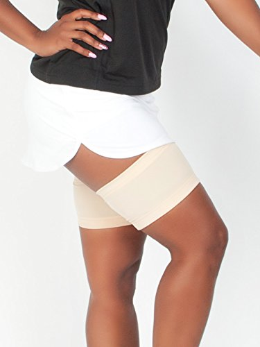 Light Skin Tone Solid Thigh Guards - Anti-Thigh Chafing Leg Bands - No-Slip Gripper at Top and Bottom of Each Sleeve to Prevent Inner Thigh Chafing - Made in USA -