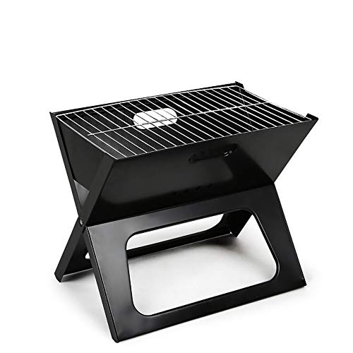 SJAPEX BBQ Charcoal Grill Portable Barbecue Outdoor Camping Foldable Desk Stove with Steel Healthy X-Shaped Easy Storage for Cooking Garden Terrace Travel Black
