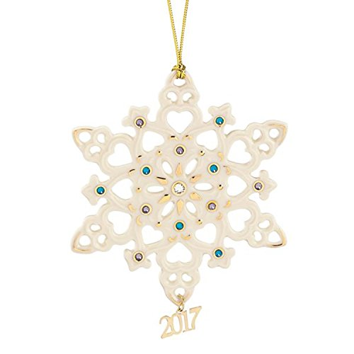 Lenox 2017 Gemmed Snowflake Ornament Annual Blue Clear Crystals Christmas