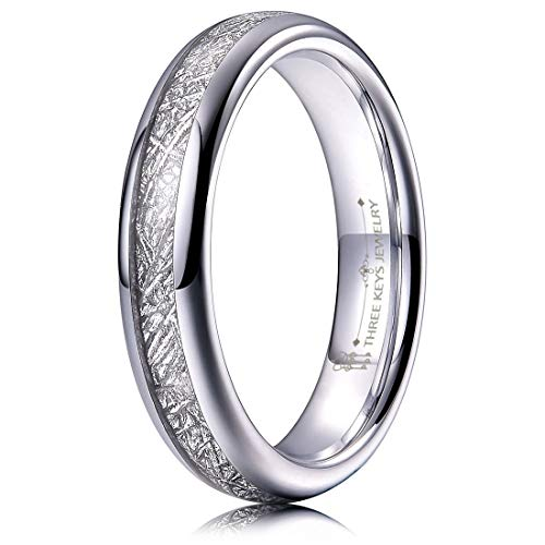 THREE KEYS JEWELRY 4mm Tungsten Wedding Ring Imitated Meteorite Inlay White High Polish Dome Wedding Band Size 10.5