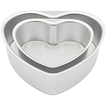 LepoHome 2 pcs Aluminum Heart Shaped Cake Pan Set DIY Baking Mold Tool with Removable Bottom - 6 inch & 8 inch