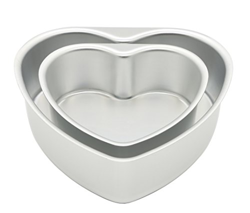 LepoHome 2 pcs Aluminum Heart Shaped Cake Pan Set DIY Baking Mold Tool with Removable Bottom - 6 inch & 8 inch Heart Pan Set