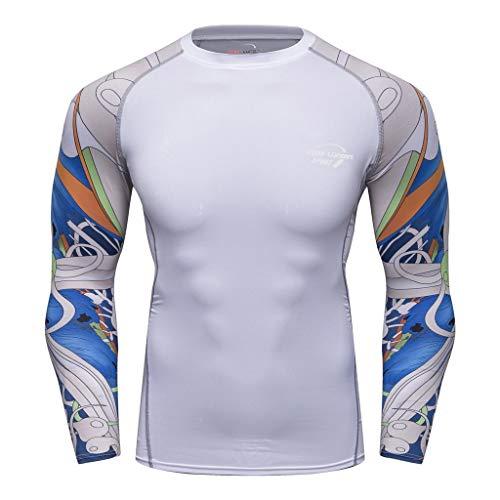POQOQ Fitness T-Shirt Men's Imitation Tattoo Print Long Sleeve Yoga Sport Top -