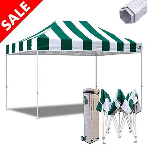 (Eurmax 10x15 Ft Premium Ez Pop up Canopy Instant Shelter Outdoor Party Gazebo Commercial Grade Bonus Roller Bag (Stripe Green White))