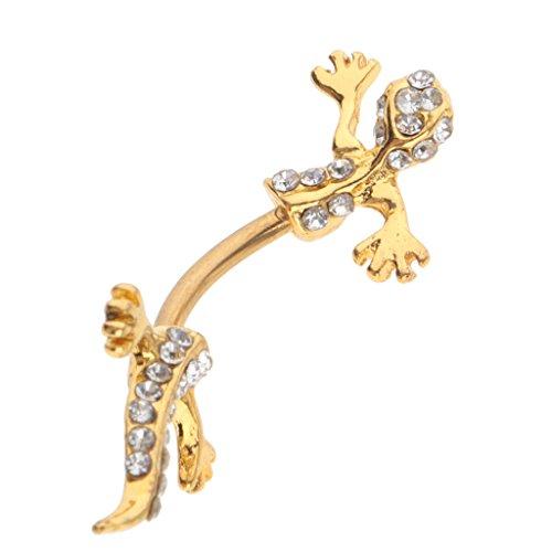 Crystal Lizard Dangle - Jili Online Gold Crystal Lizard Gecko Design Dangle Belly Button Navel Ring Stud Jewelry Piercing