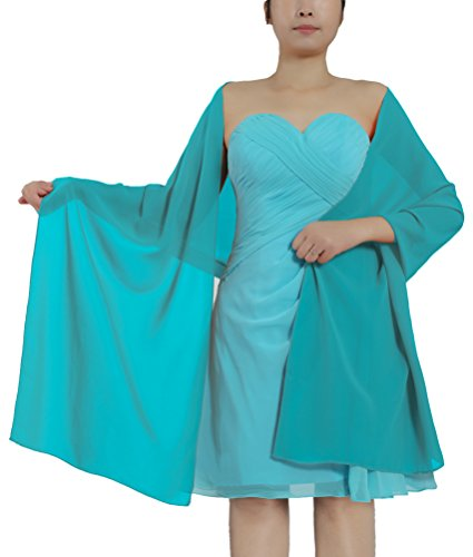 ANTS Women's Chiffon Bridal Evening Dresses Shawl Wraps Color Jade Size 18