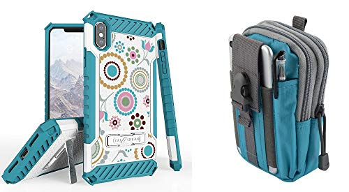 Beyond Cell Tri Shield Case Compatible with Apple iPhone Xs Max - Military Grade Shock Proof Kickstand Cover (Circle Collage) with Blue Gray Tactical MOLLE Belt Pouch and Atom Cloth for iPhone Xs Max from Bemz Depot