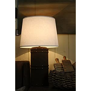 """White Linen Tapered Drum Lampshade - 18"""""""