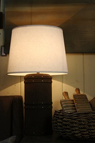 White Linen Tapered Drum Lampshade - 18""