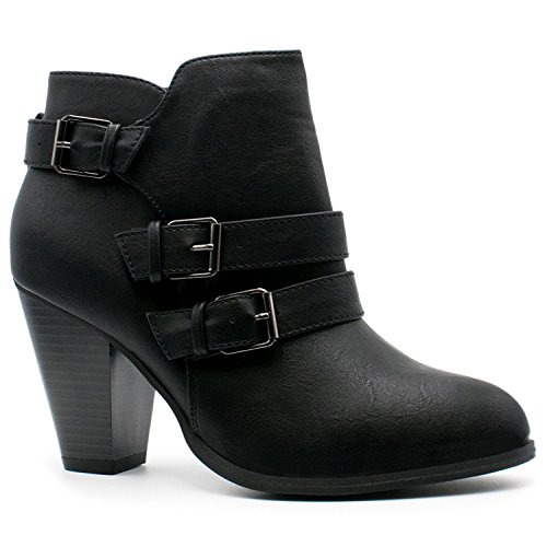 Women's Chunky Block Heel Booties Buckle Strap Fashion Shoes Dress Ankle Boots Black 8 Womens Medium Heel Short