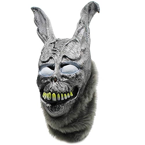 Klions Donnie Darko Frank Rabbit Mask Halloween The Bunny Latex Hood with Fur Mask for Party Funny Toys]()