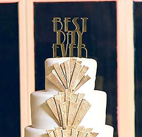 Best Day Ever Cake Topper Gatsby Style - Gold Mirror Silver Mirror - Gold Art Deco Silver Art Deco Vintage Wedding Cake Topper