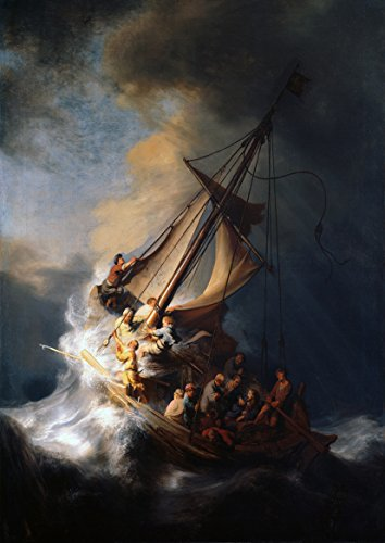 Harmensz Van - Rembrandt Harmensz van Rijn: Christ in the Storm on the Sea of Galilee. Fine Art Print/Poster. (42cm x 29.7cm)