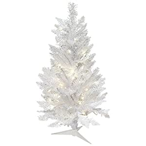 Vickerman Unlit White Sparkle Spruce Artificial Christmas Tree 3