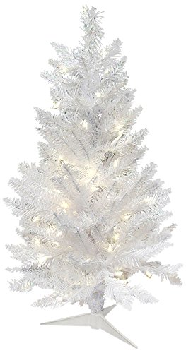 vickerman spruce sparkle white christmas tree with 100 pure white italian led 35 - Amazon White Christmas Tree