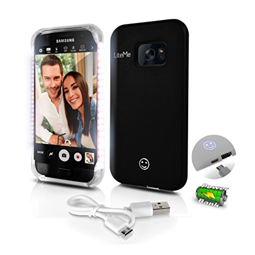 Premium Phone Cases for Samsung S7 Edge Selfie LED Light Case with Built-in Power Bank Phone Charger - Buy Selfie a Stick LED Illuminated Flashing Light, Black (SL302S7BK)