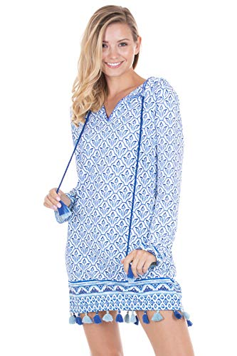 (Cabana Life Women's Long Sleeve Hoodie Tunic Swim Cover Up Blue/Green/White M )