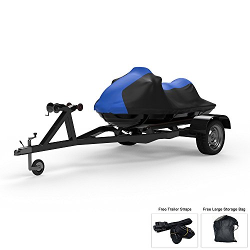 (Weatherproof Jet Ski Covers for Yamaha Wave Runner FX Cruiser HO 2006-2008 - Blue/Black Color - All Weather - Trailerable - Protects from Rain, Sun, and More! Includes Trailer Straps and Storage Bag)