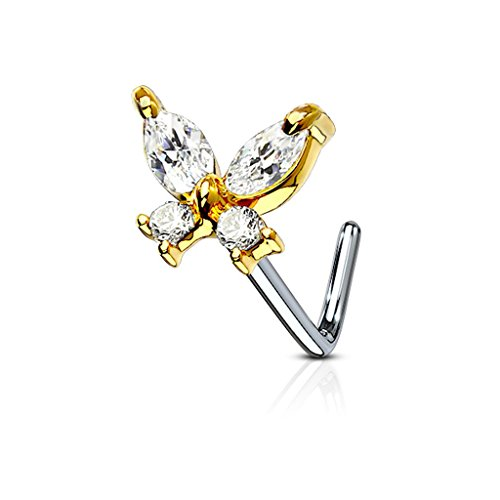 - Fifth Cue 20G CZ Butterfly 316L Surgical Steel L Bend Stud Nose Ring (Gold/Clear)
