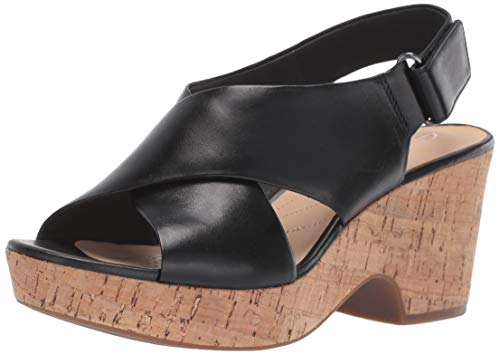 CLARKS Women's Maritsa Lara Wedge Sandal, Black Leather, 10 M US