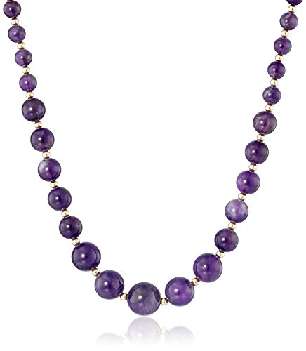 Gold-Filled Beads and Graduated 6-12mm Amethyst Necklace, (Gold Graduated Bead Necklace)