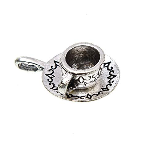 - Monrocco 20 Pieces Antique Silver 3D Tea Cup Charms Coffee Cup Charms for Jewelry Making DIY Necklace Bracelet
