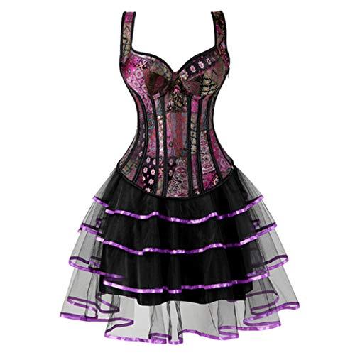 Women's Steampunk Corset Plus Size Gothic Jacquard Bustier Corset Dresses Skirt Tutu Set Burlesque Corset -