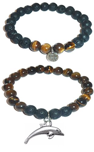 Hidden Hollow Beads Charm Tigers Eye and Black Lava Natural Stone Women's Yoga Beaded Stretch Bracelet Set. COMES IN A GIFT BOX! (Dolphin)