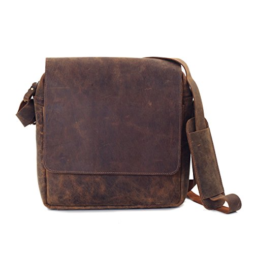 Messenger Crossbody Distressed Brown Top Grain Crazy Horse Leather Bag by Terra Negra Studio