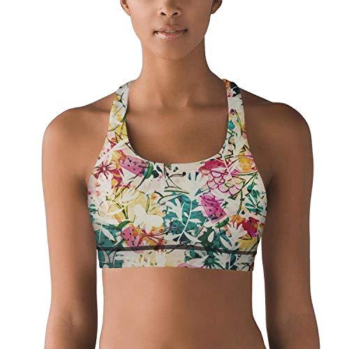 Woman Yoga Bra Boho Flowers Leaves and Berries. High Impact Ultra Soft Glamorise Workout Tops
