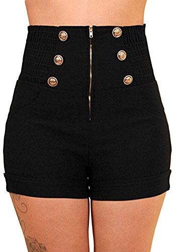Sidecca Women's Retro Rockabilly 6-Button High Waist Smock Pant (X-Large, 6 Button Short Black) -