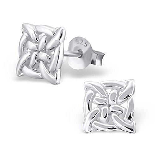(925 Sterling Silver Celtic Knot Square Stud Earrings 16443)