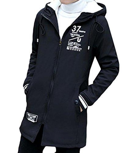 Black Jacket Mogogo Thicken Coat Mid Printed Long Men's Hoodie Zip Floral Full RwqxPpg7w