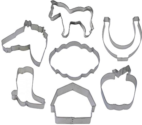 7 Pcs Horse Cookie Cutter Set Barn Apple Boot