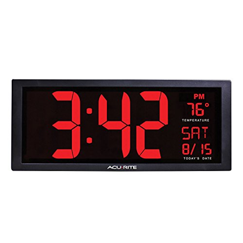 AcuRite 75127 Oversized LED Clock with Indoor Temperature, D