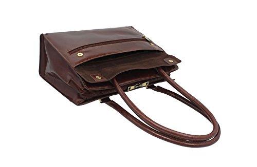 marrón GIORGIA Vintage de Visconti ITL78 Collection trabajo cuero italiana Negro de Bolsa q1Pw6BW