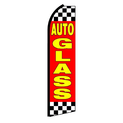 Auto Glass Checkered Swooper Flag - Auto Banner Glass