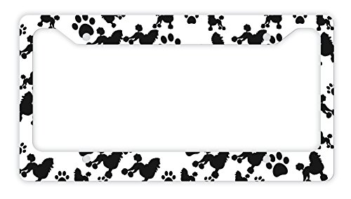 Frame Poodle (ThisWear Poodle License Plate Frame Dog Silhouette Paw Print License Plate Frame Poodle Gifts Dog Lovers Novelty License Plate Frame Poodle)